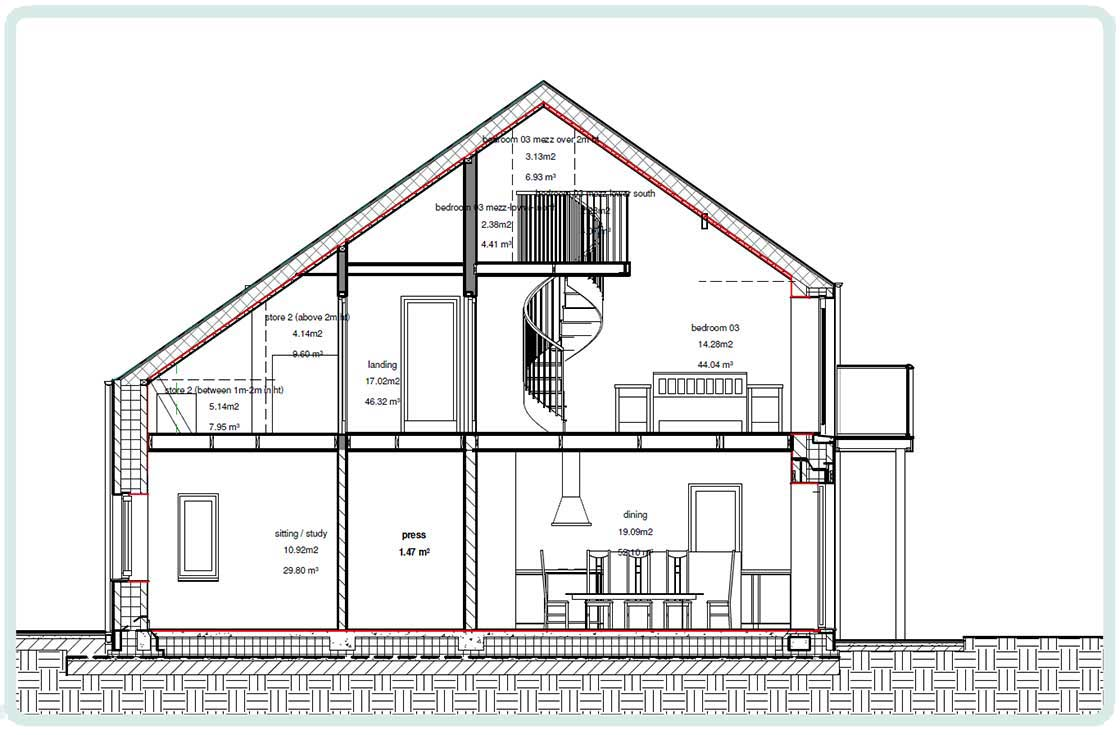 (above) Example of a simple clear section drawing of a house with the airtightness layer marked clearly in red.