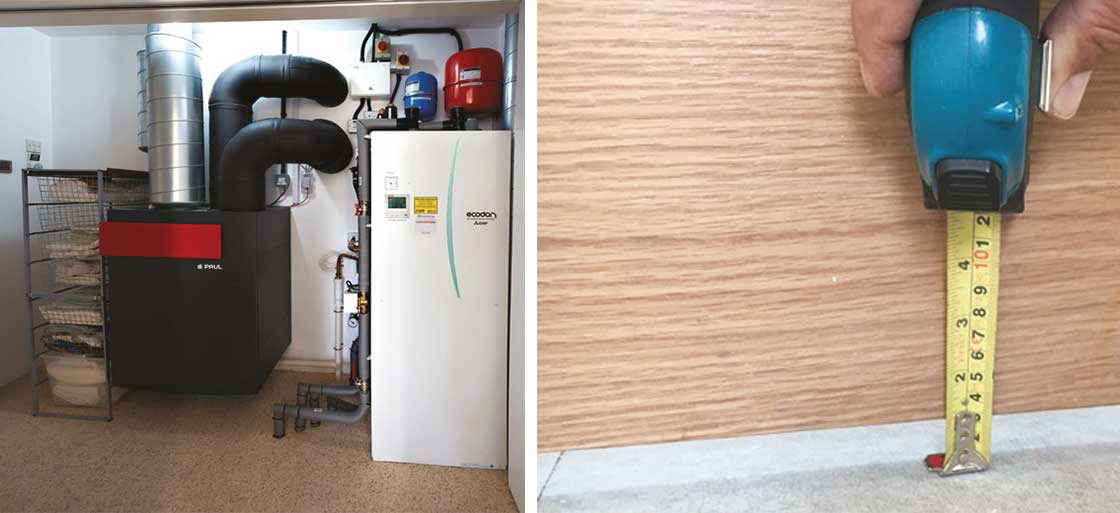 The house's plant room, and undercuts of circa 30 mm beneath internal doors to aid air circulation.