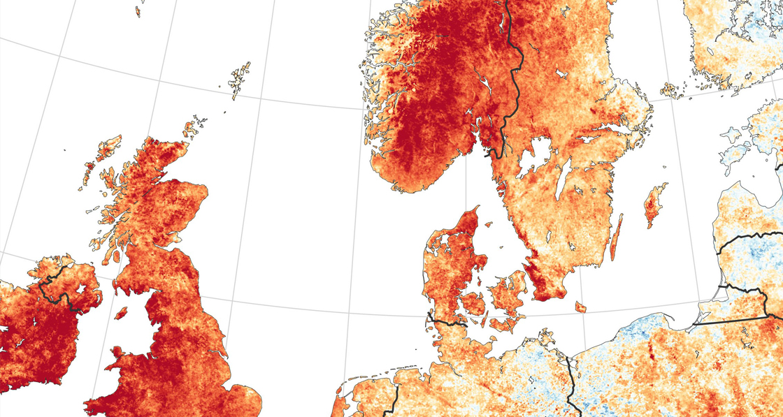 A NASA temperature anomaly map in Northern Europe in July 2018 showing unusually hot conditions in Ireland, the UK and Scandinavia.